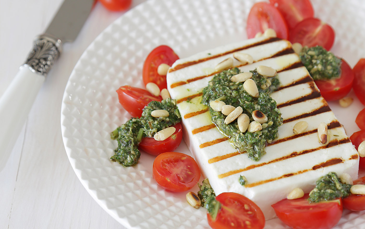 Grilled Manouri Cheese with<br>Tomato & Basil Pesto