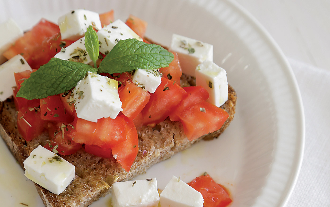 Barrel Feta on Toasted Bread with<br>Tomato, Oregano & Olive Oil
