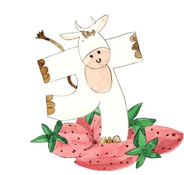 Drinkable Yogurt Strawberries illustration